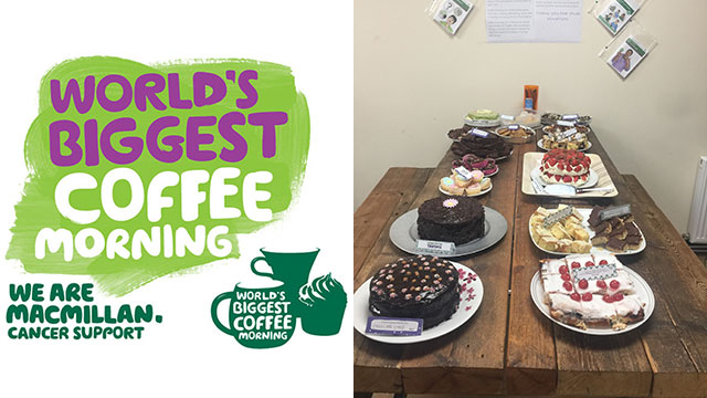 Stirling training centre MacMillian coffee morning