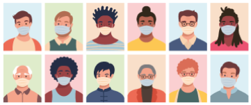 Illustration of people wearing face masks