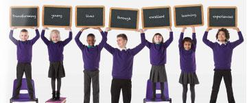 Childre holding chalk boards